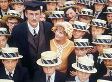 Peter O'Toole, Petula Clark, and the boys of Sherborne School in the 1969 Goodbye Mr Chips